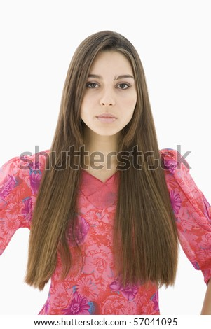 Portrait of the beautiful woman with long hair