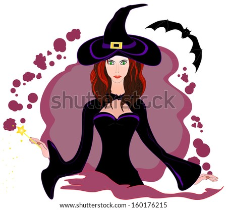 Portrait of the beautiful young halloween witch with the bat. Raster version - stock photo
