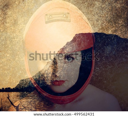 Portrait of the beautiful young woman parachutist with red lips in red helmet and mountain landscape. Double exposure image