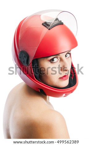 Portrait of the beautiful young woman parachutist with red lips in red helmet isolated on white background, studio shot