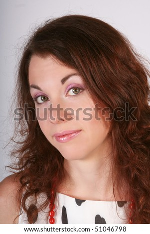 Portrait of the beautiful young woman which makes advances a sight