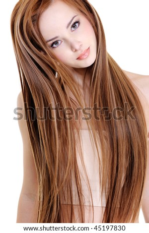 portrait of the beautiful young woman with beauty long straight hairs - stock photo