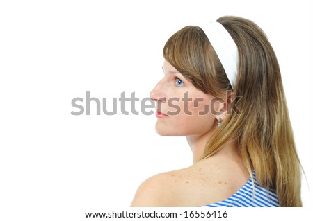 portrait of the beauty blue-eyed girl. isolated over white - stock photo