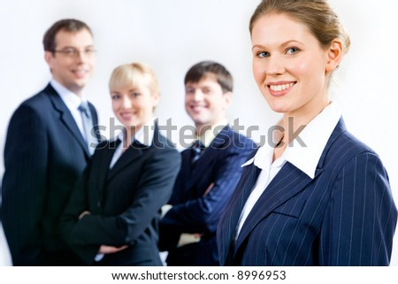 Portrait of the best professional on the background of  business team