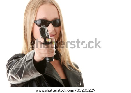 Portrait of the blonde with gun isolated on white background - stock photo