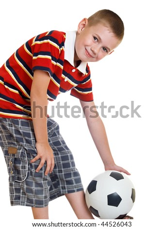 Portrait of the boy of the preschool child with a football - stock photo