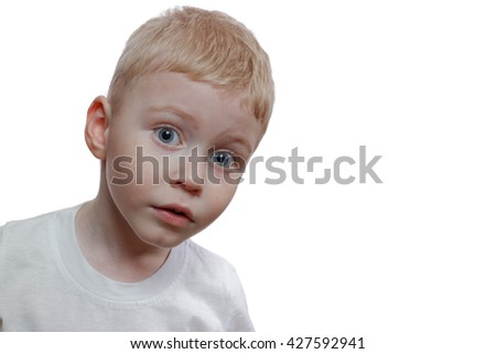Portrait of the boy on a white background