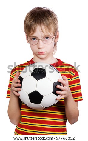 Portrait of the boy wearing spectacles with a ball