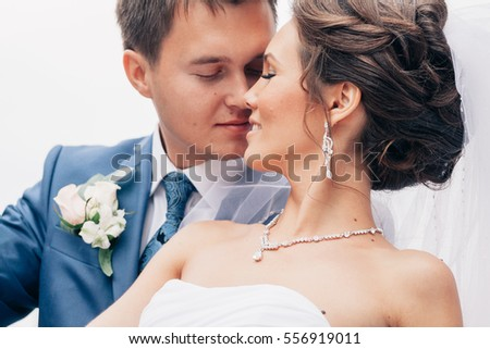 portrait of the bride and groom tenderness.