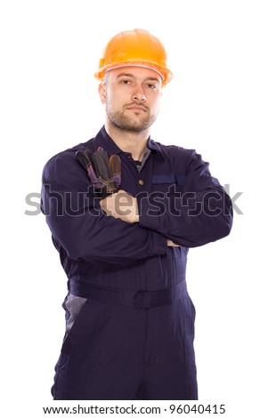 portrait of the builder with visiting card on a white background - stock photo