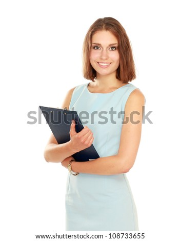 Portrait of the business woman with folder ,isolated on white background - stock photo