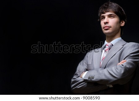 Portrait of the businessman in a grey suit - stock photo