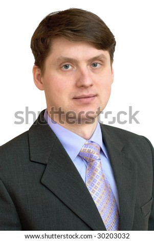 Portrait of the businessman in a shirt, tie and jacket