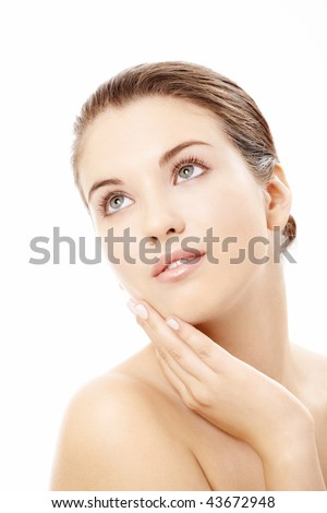 Portrait of the charming well-groomed girl isolated - stock photo