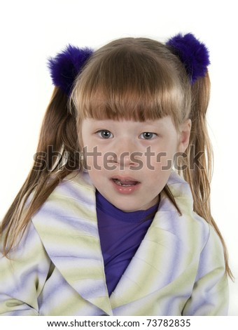 Portrait of the cheerful little girl on a white background - stock photo