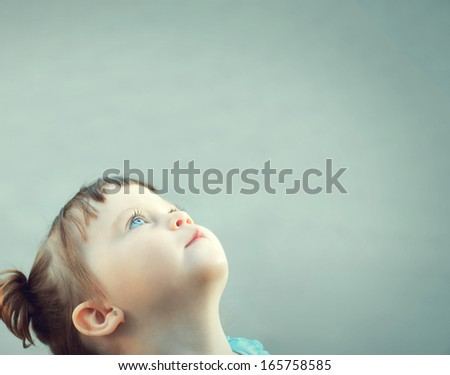 Portrait of the child close up on the isolated white background - stock photo