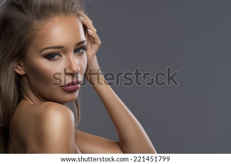 Portrait of the cute blonde lady  - stock photo