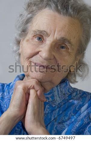 portrait of the elderly woman - stock photo