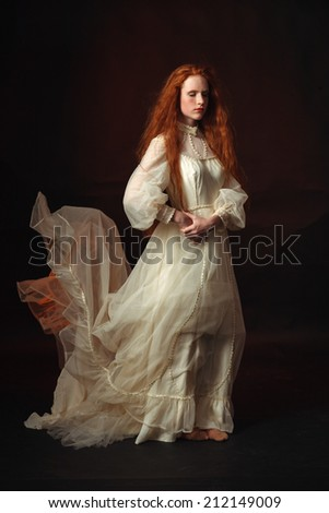 Portrait of the elegant woman in medieval era dress.