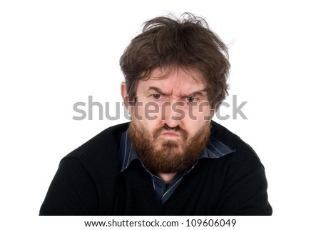 Portrait of the emotional man with a beard.Isolated on a white background - stock photo