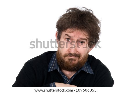 Portrait of the emotional man with a beard.Plaintive person.Isolated on a white background - stock photo