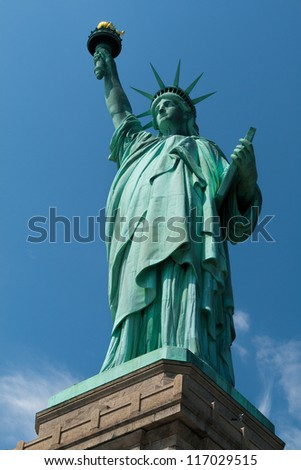 Portrait of the famous Statue of Liberty in New York city, USA. - stock photo