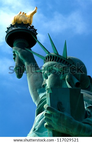 Portrait of the famous Statue of Liberty in New York city, USA.