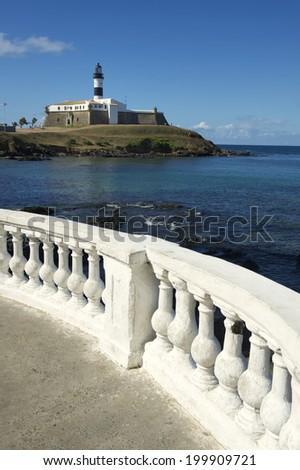 Portrait of the Farol da Barra Salvador Brazil lighthouse from the promenade balcony - stock photo