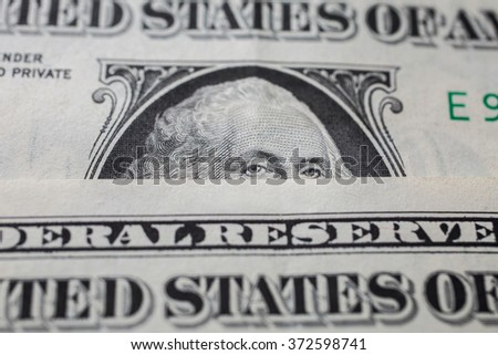 portrait of the first president of the United States, the US founding father George Washington on the one dollar bill, background of the money, one dollar bills front side obverse. close up, America - stock photo