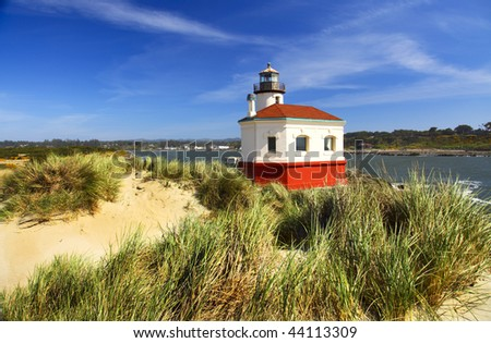 Portrait of the freshly painted Coquille River Lighthouse near Bandon on the Oregon coast.