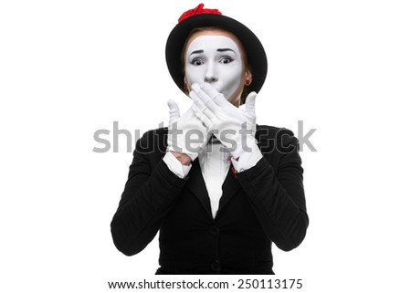 Portrait of the frightened woman as mime isolated on white background. Concept of approval and recommendations - stock photo