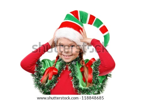 Portrait of the girl in a dress of elf Santa. Isolated on a white - stock photo