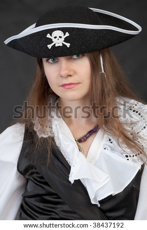 Portrait of the girl in a piracy hat close up