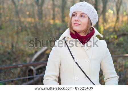 Portrait of the girl in park - stock photo