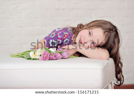 portrait of the girl in studio - stock photo