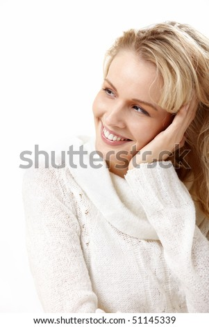 Portrait of the girl isolated on the white - stock photo