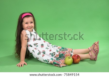 Portrait of the girl with a red apple - stock photo