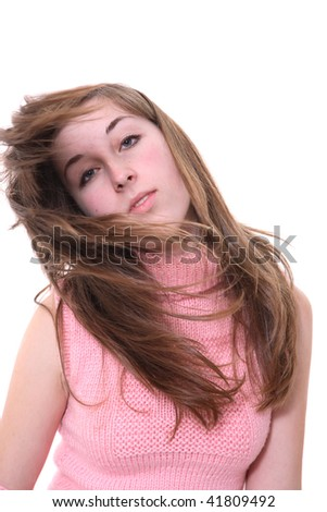 Portrait of the girl with moving hair - stock photo