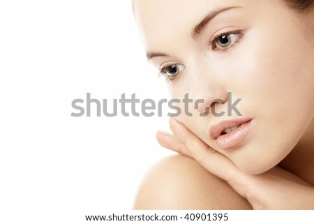 Portrait of the girl without a make-up, isolated on a white background - stock photo