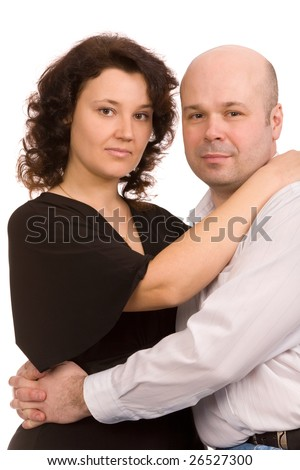 portrait of the happy couple on a white background - stock photo