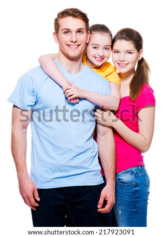 Portrait of the happy european family with child - isolated on white background. - stock photo