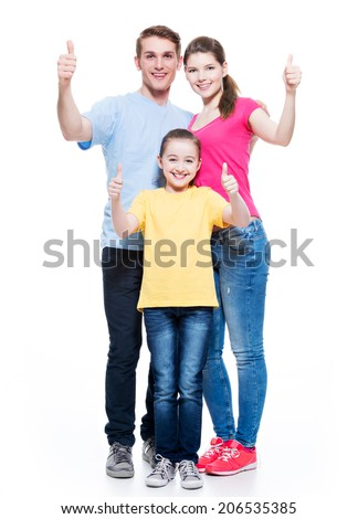 Portrait of the happy european family with child shows the thumbs up sign - isolated on white background. - stock photo