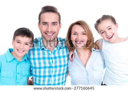Portrait of the happy european family with children looking at camera -  isolated on white background - stock photo