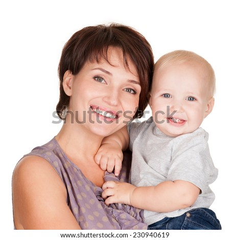 Portrait of the Happy mother with smiling baby on white background - stock photo