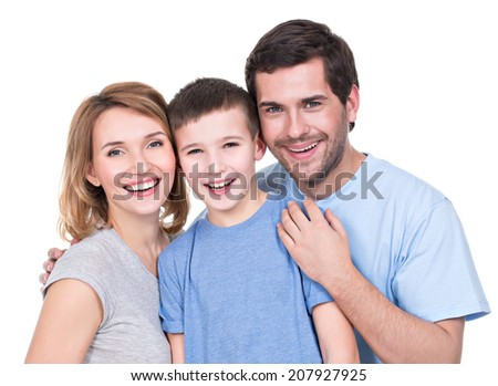 Portrait of the happy parents with son looking at camera - isolated on white background - stock photo