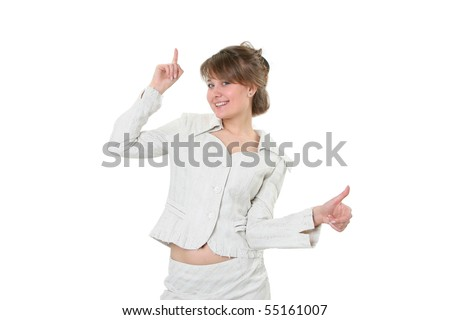 Portrait of the happy young business woman, indicating upwards on a white background