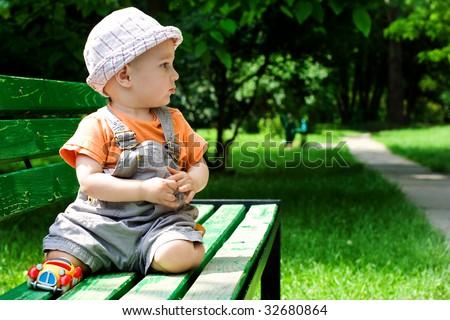 portrait of the little boy - stock photo