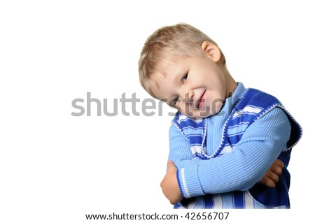 Portrait of the little boy. Age 3 years. It is isolated on a white background