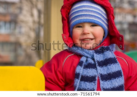 Portrait of the little boy of two years - stock photo