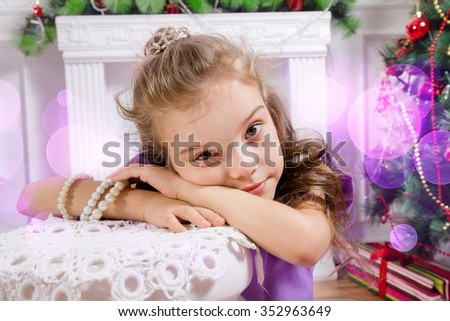 Portrait of the little girl for Christmas - stock photo